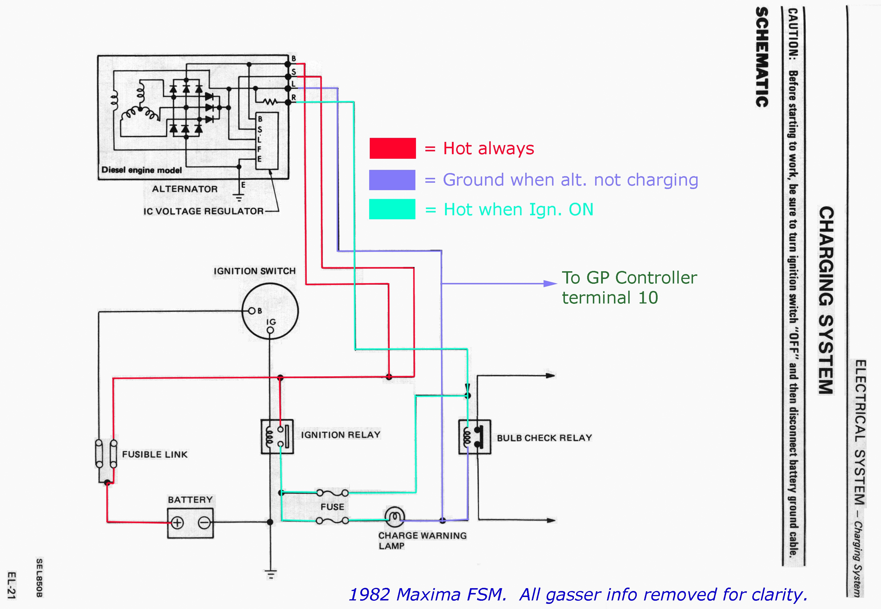 FSM_1982_EL 021 1b nissan alternator wiring diagram nissan forklift wiring diagram alternator relay diagram at gsmx.co