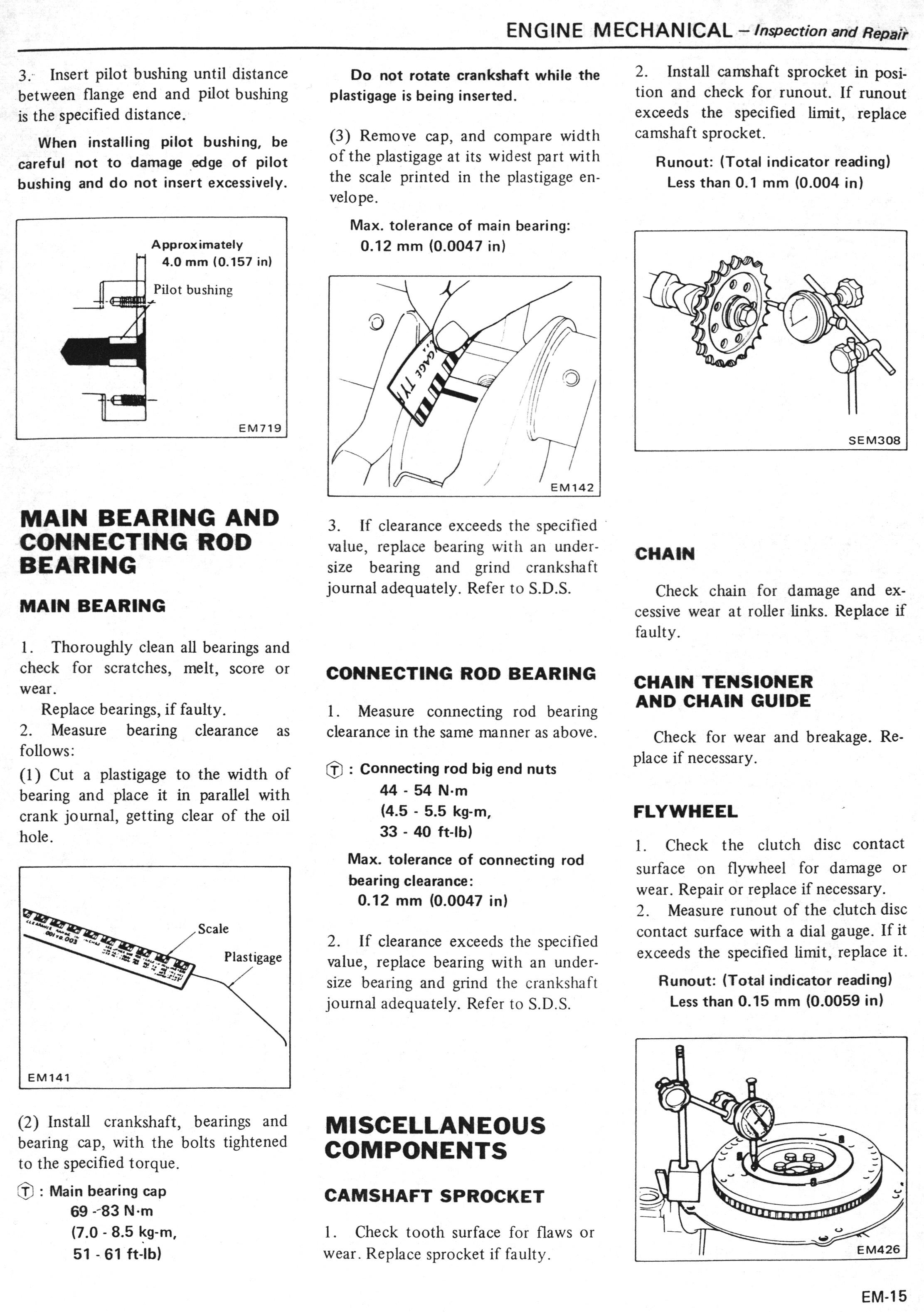 Nissan LD20 & LD28 Manual: Page EM-015