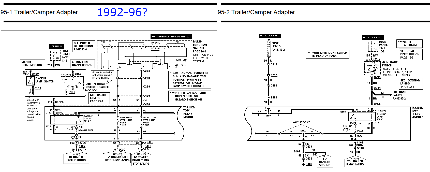 Trailer tow package and trailer wiring questions - Ford Truck ... on 1996 f150 brake diagram, 1996 f150 exhaust diagram, 1997 f150 trailer wiring diagram, ford f 150 trailer wiring diagram, 2000 f150 trailer wiring diagram, 1996 f150 fuse diagram, 1996 f150 tail light, 1996 f150 turn signal,