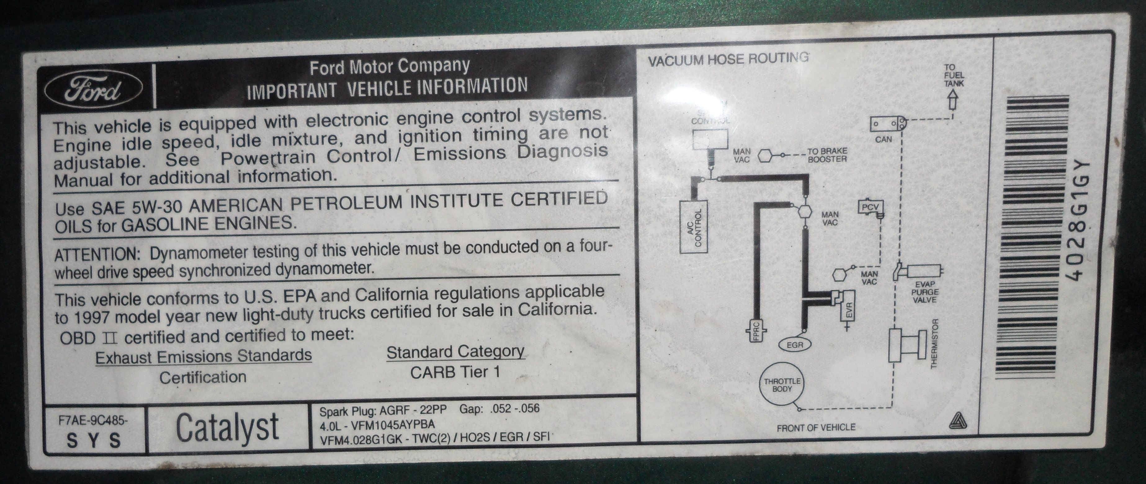Underhood Sticker B on 1997 Ford 460 Engine Diagram