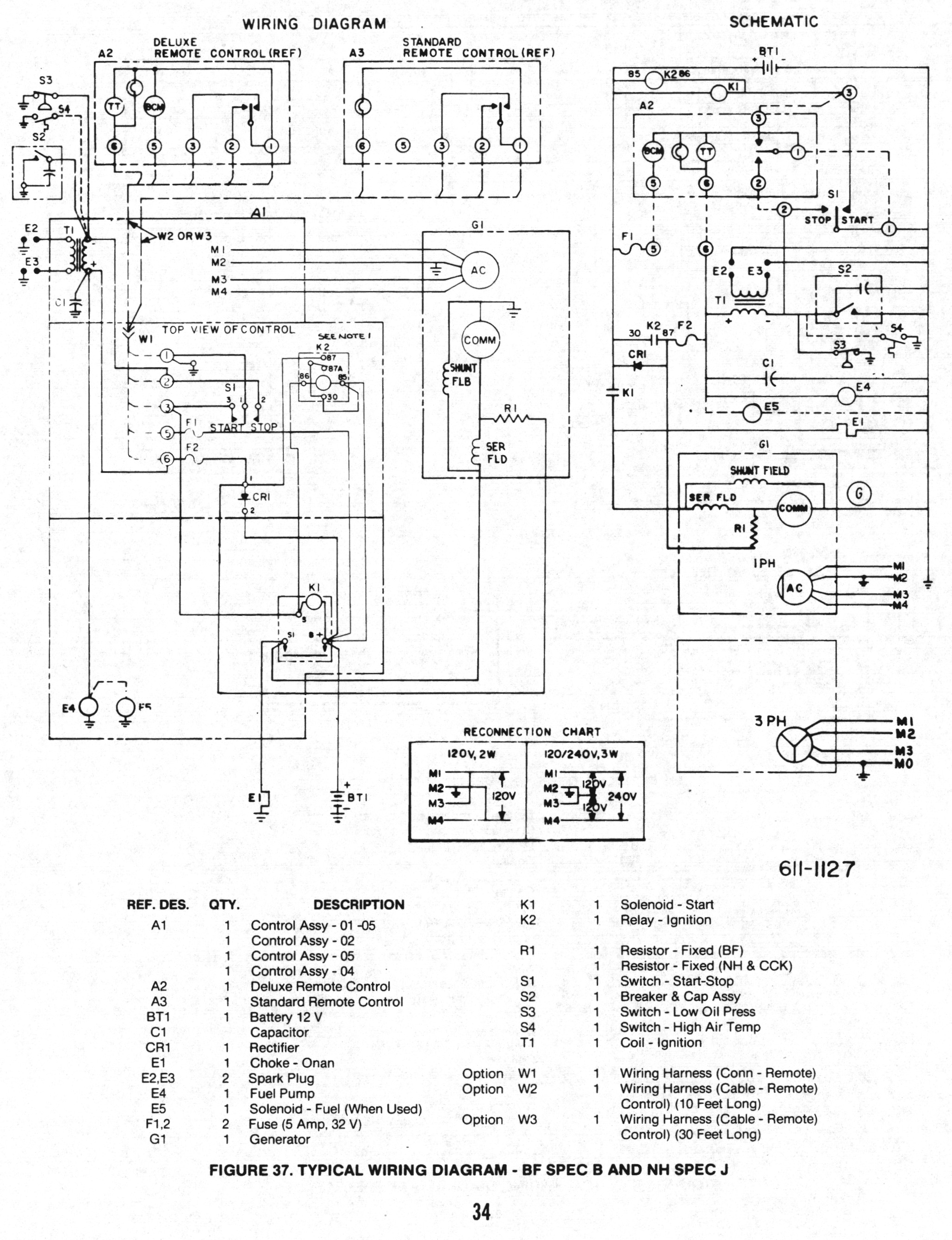 Emerald Plus 6500 Onan Generator Schematic Wiring Diagram Circuit Service Manual For Bf Bfa Bga Nh 900 0337 Page 34