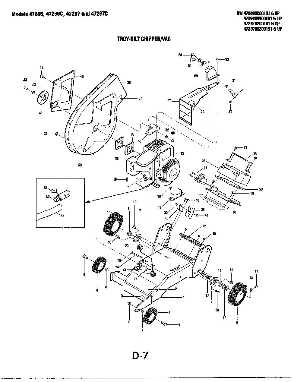 Troy Bilt Gardenway Chipper Vac Parts Manual Page D7
